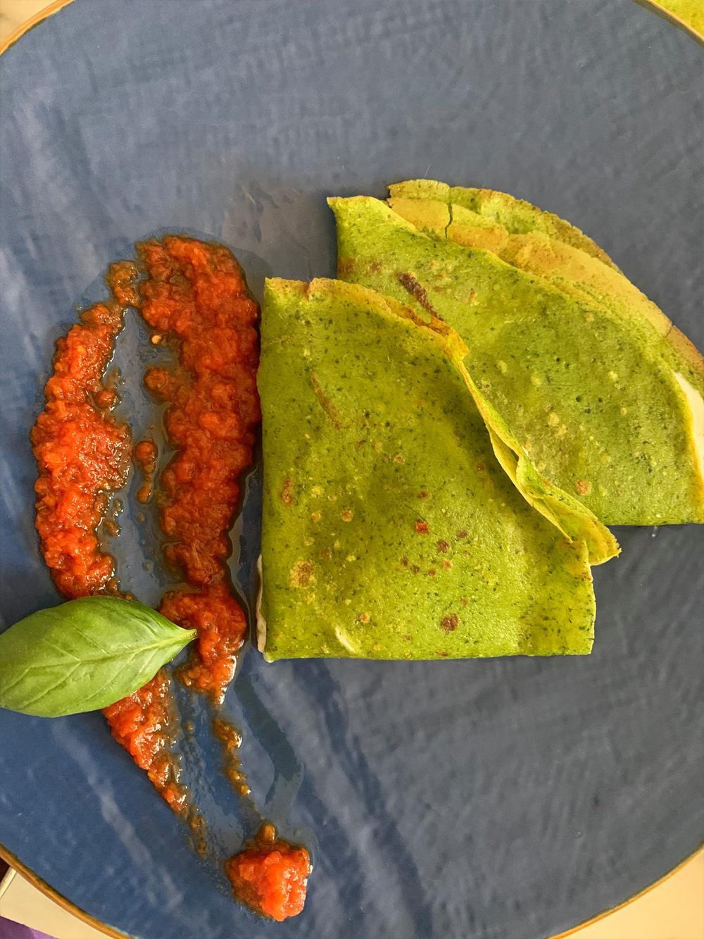 Idee in cucina per i bambini: Crêpes verdi agli spinaci